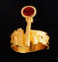Anello in Oro 18 k., Con Rubino, Lavorato con la tecnica della saldatura autogena
