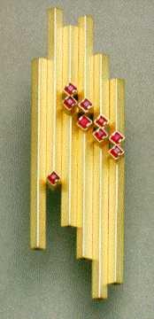 Spilla geometrica in parallelo, Oro 18 k. Doppia fila di Rubini, (pezzo unico